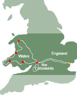 Routekaart motorvakantie 10 dagen Cotswolds and Wales